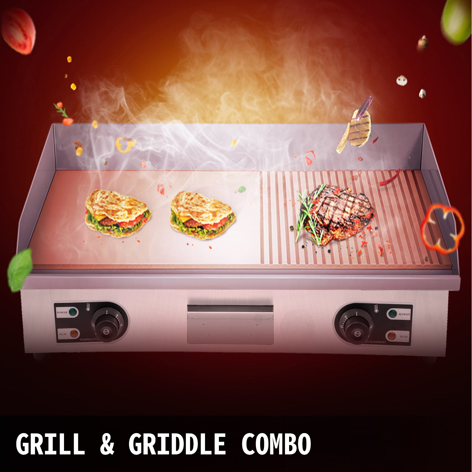 Electric Grill Grooved And Flat Top Grill Combo 30-inch Commercial Griddle Grill