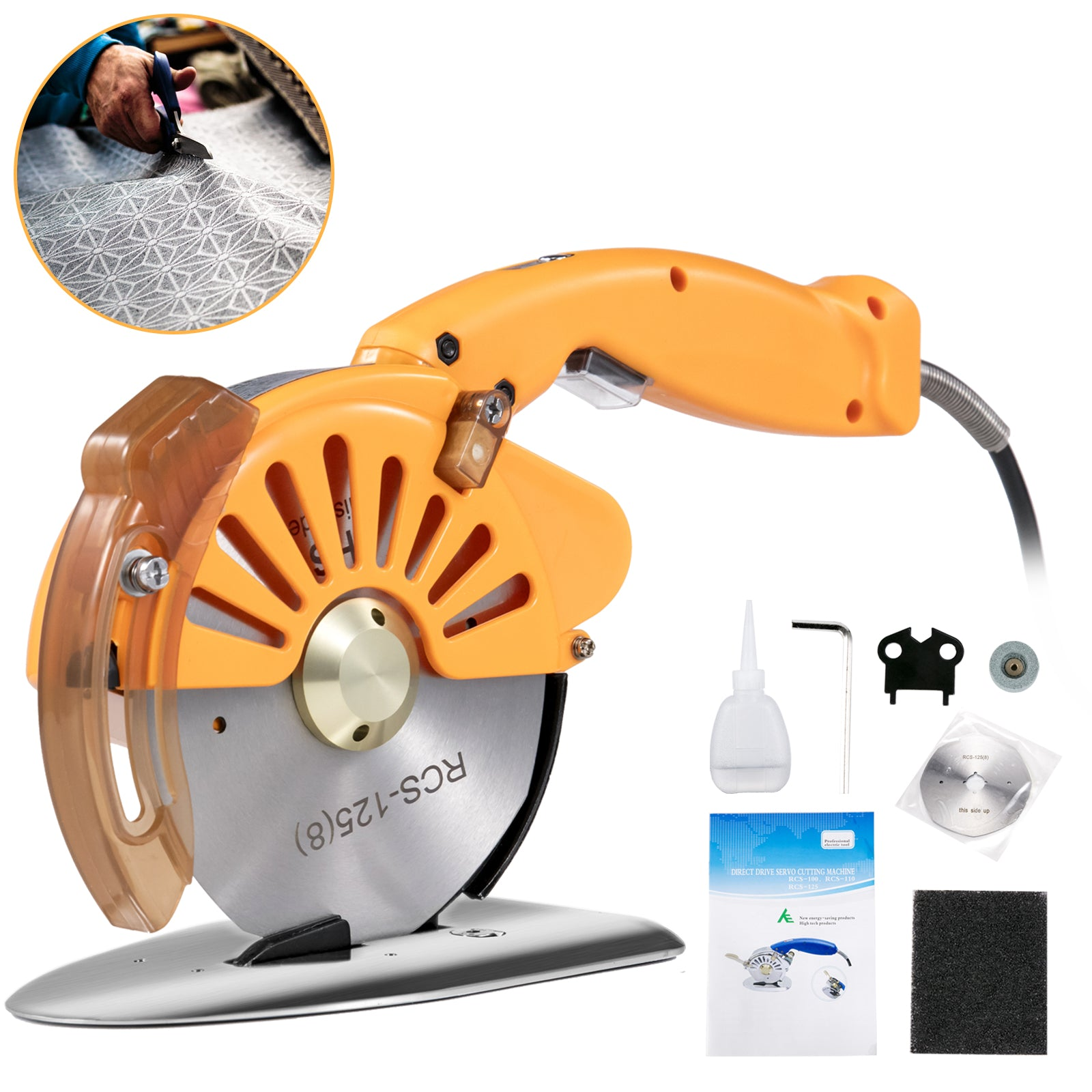 Electric Cloth Cutter Cutting Machine 125mm Rotary Fabric Cutter Variable Speed