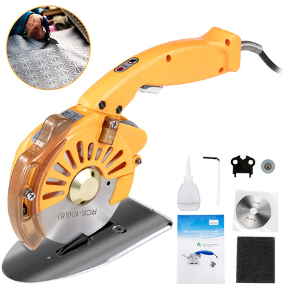 Electric Cloth Cutter Cutting Machine 100mm Rotary Fabric Cutter Variable Speed