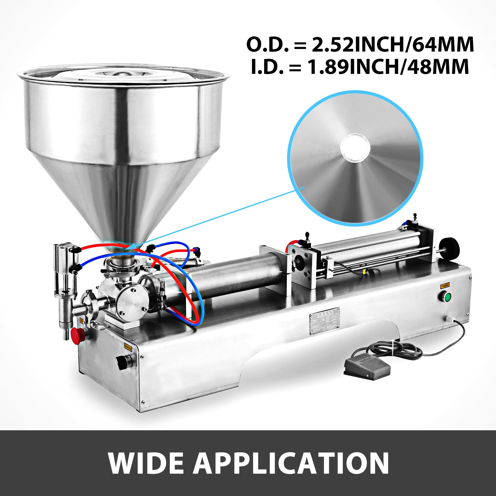 Filling Machine Hopper Liquid Paste Filling Hopper 40l Volume Stainless Steel