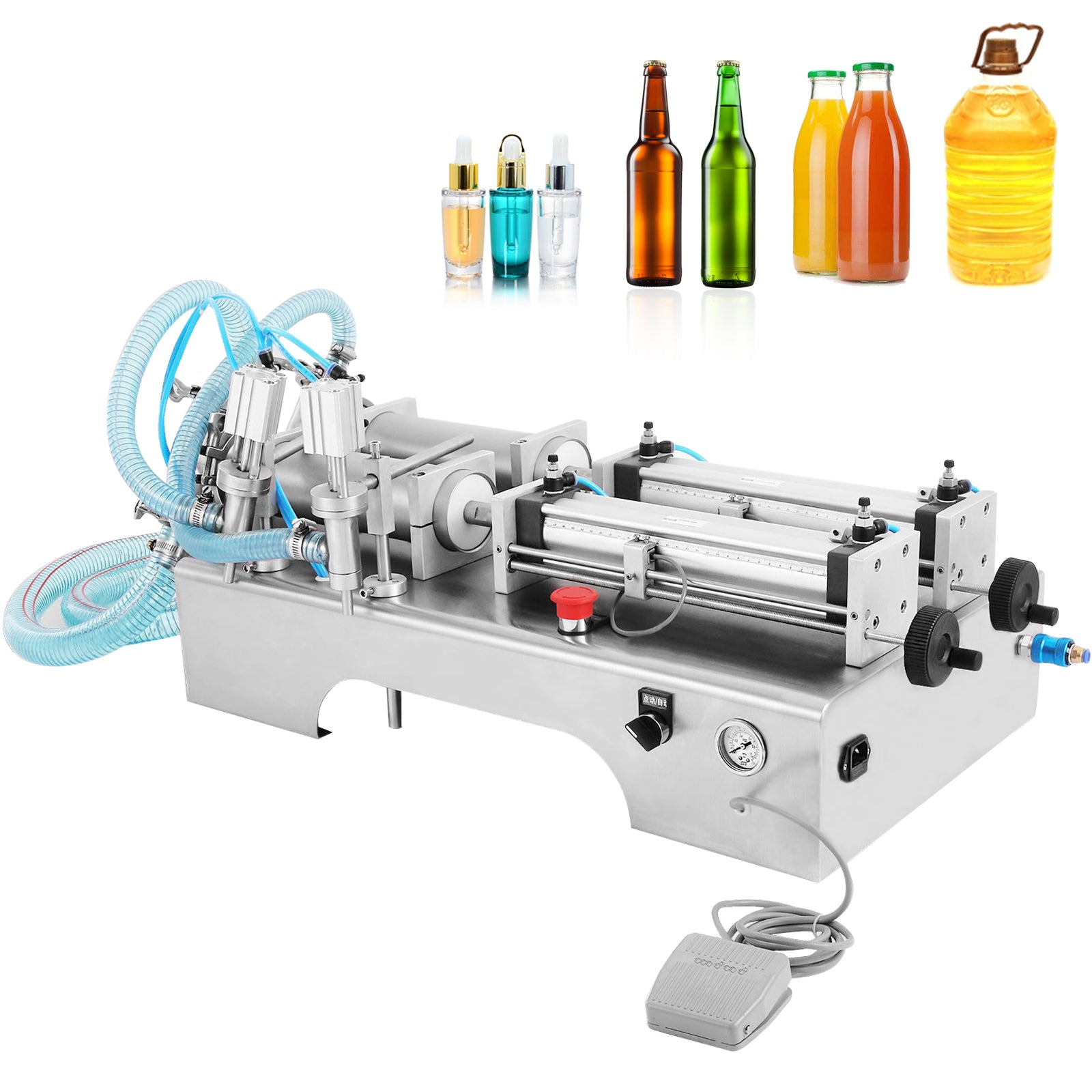 Two Heads Pneumatic Liquid Filling Machine 100-1000ml 0.4-0.6mpa Water Stainless