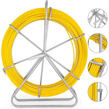 8mm × 150m Fiberglass Wire Cable Fish Tape Rod Reel Puller Duct Yellow Tool