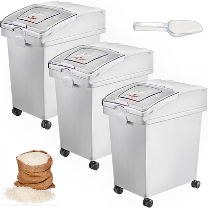 3 X 25l Ingredient Storage Bin Rice Flour Bin On Wheels 5.5 Gallons With Scoop