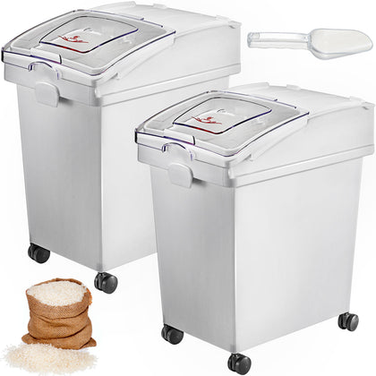 2 X 25 L Ingredient Storage Bin Rice Flour Bin On Wheels 5.5 Gallons With Scoop