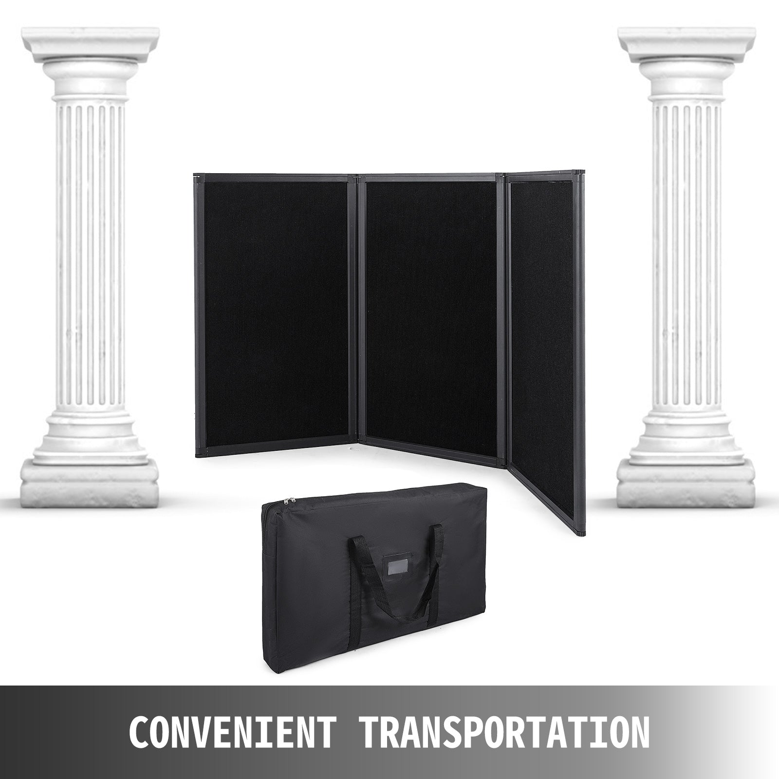 3 Panel Table Top Display - Tri-fold Presentation Board In Matte Black
