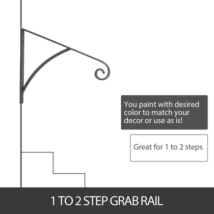 Grab Supports Stair Handrail Mount Step Grab Rail Fit 1 Or 2 Steps Matte Gray