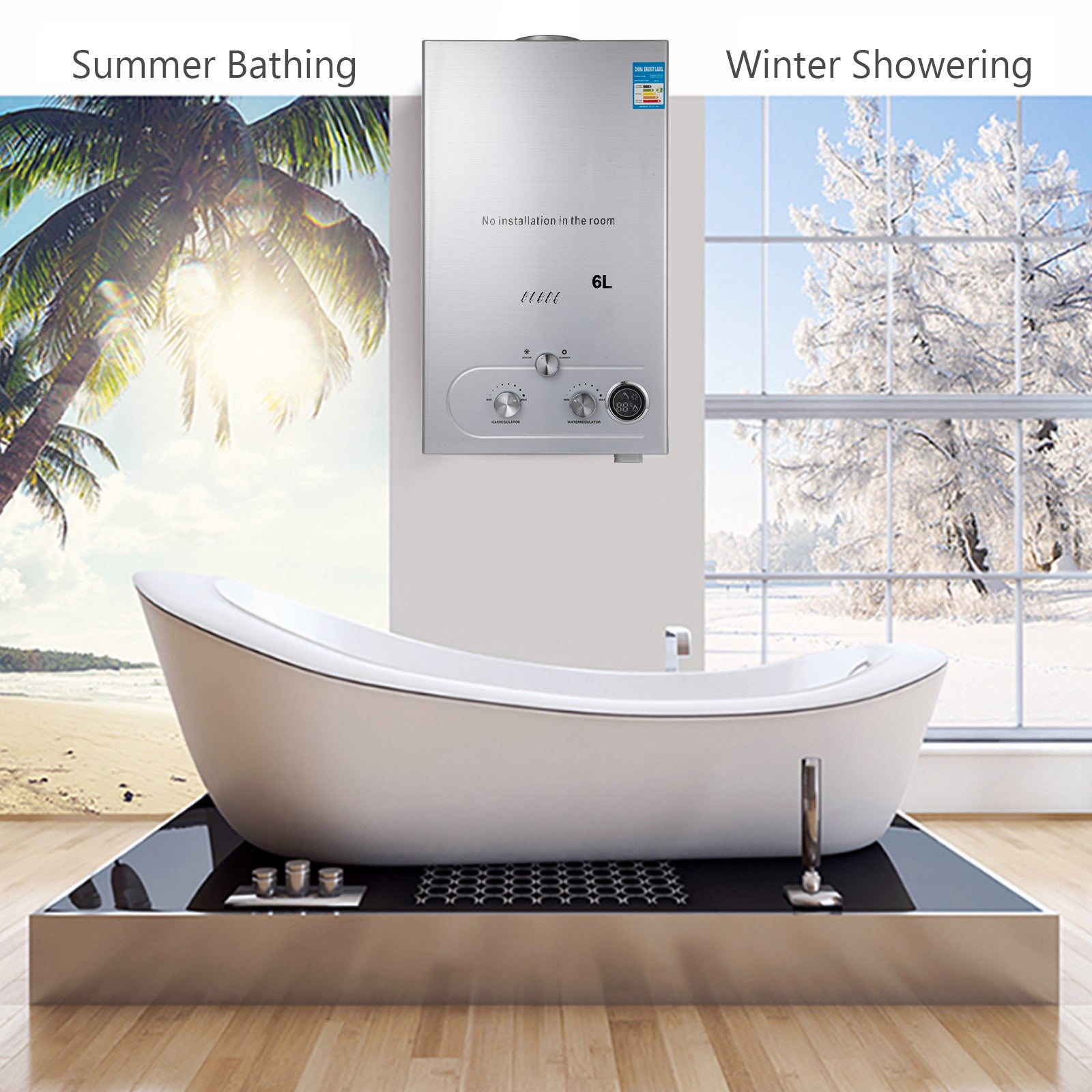 Hot Water Heater 6l Tankless Instant Boiler Methane Gas Lng W/ Shower Head