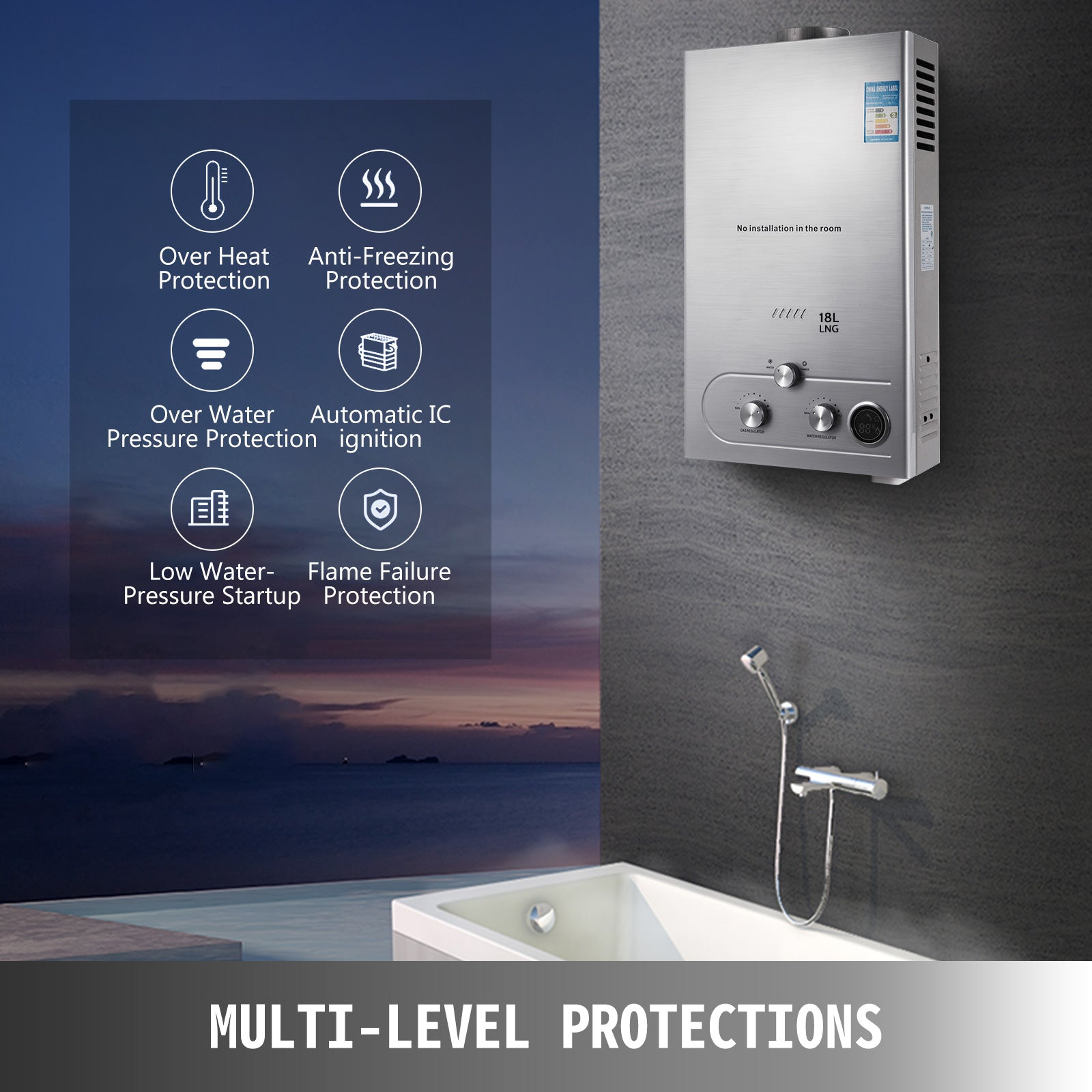 18l Natural Gas Hot Water Heater Auto-protection Instant 18 L/min