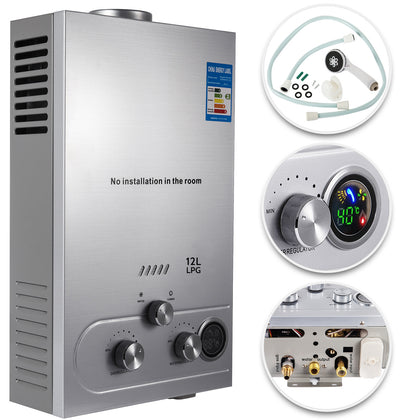 12l Propane Gas Tankless Hot Water Heater Instant On-demand Boiler W/ Shower Kit