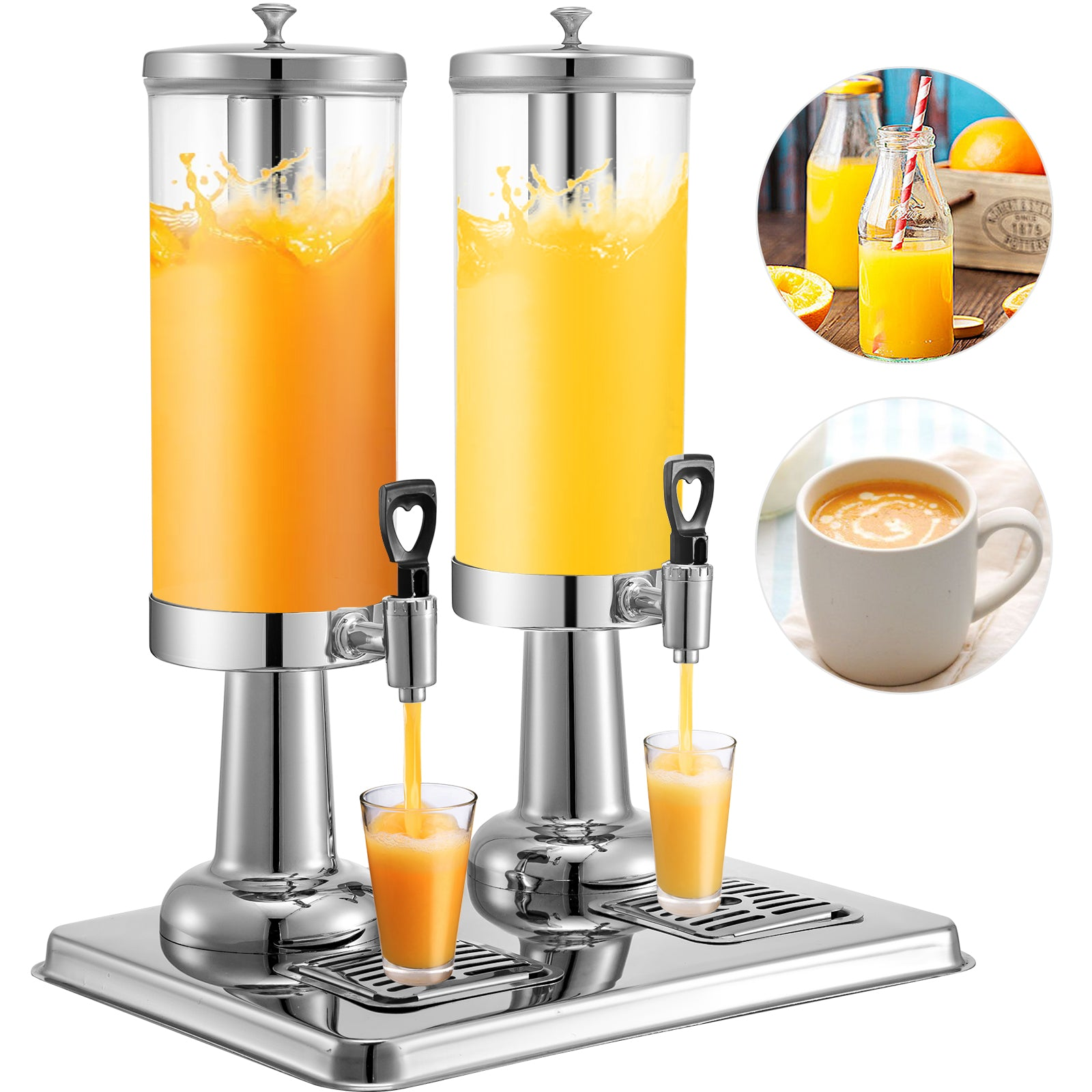 11l Hotel Juice Dispenser Beverage Dispenser Double Tanks 3 Gal *2 Buffet Drink