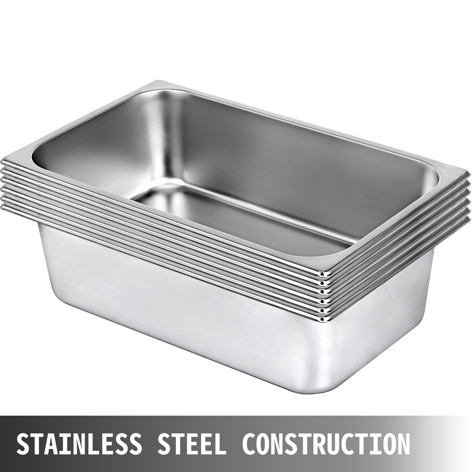 "6 Packs Steam Table Pan Gastronorm Pan Stainless Steel Food Warmer 6"" 150mm Deep"