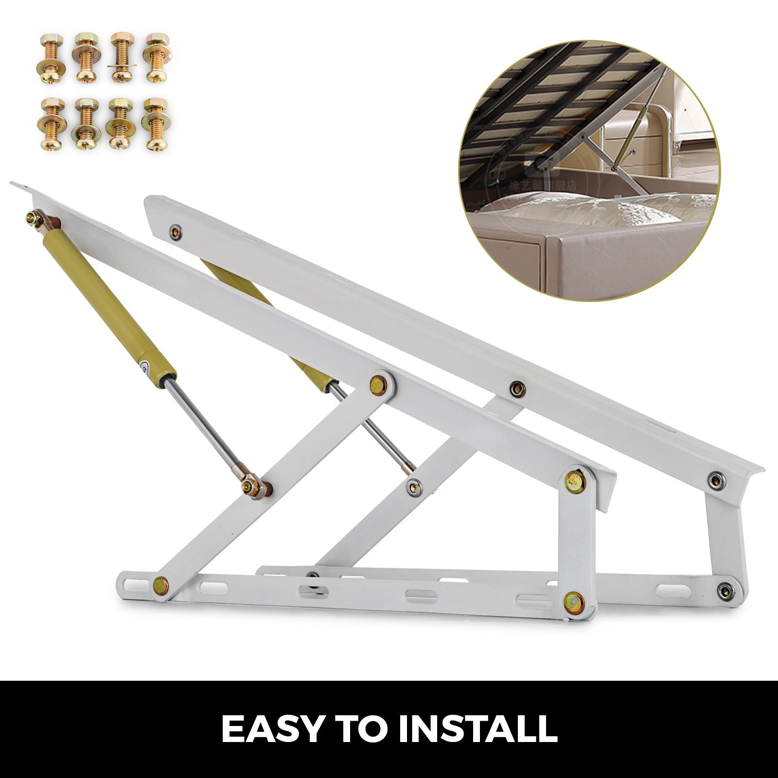 "24"" Bed Lift Hydraulic Mechanisms For Sofa Bed White Home Easy Install"