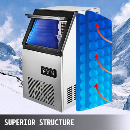 Commercial Ice Maker Stainless Steel Machine 68kg/24h Restaurant Bar Icemaker
