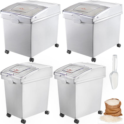 40l*2 + 25l*2 Ingredient Storage Bin Rice Flour Bin With Wheels 8.8 / 5.5 Gallon