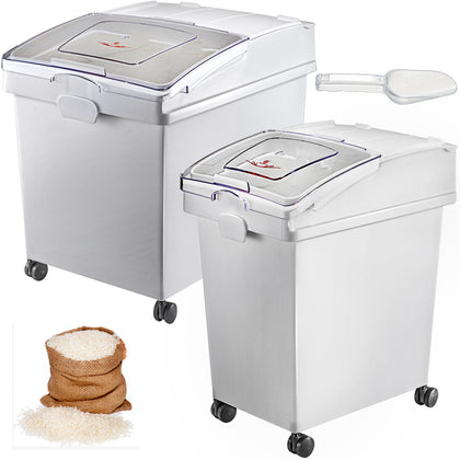 40l & 25l Ingredient Storage Bin Rice Flour Bin With Wheels 8.8 / 5.5 Gallons