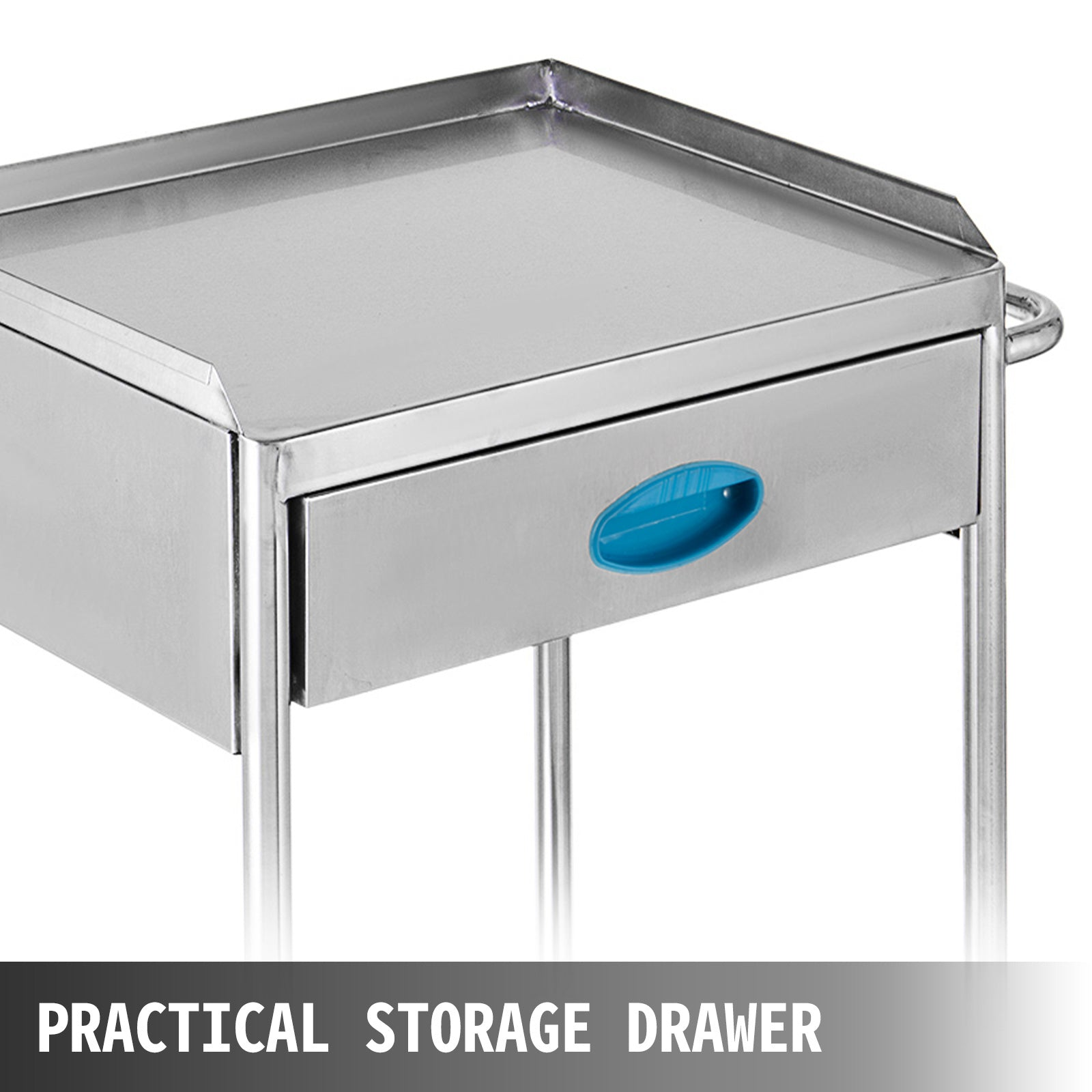 Pedestal Rolling Cart 2-layer Stainless Steel Lab Cart W/ Upper Drawer Rolling