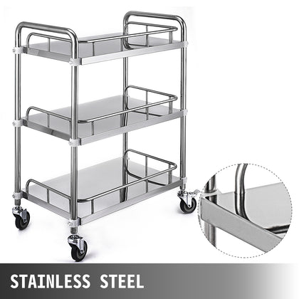 Mobile Rolling Cart 3-layer Stainless Steel Lab Medical Rolling Trolley Cart