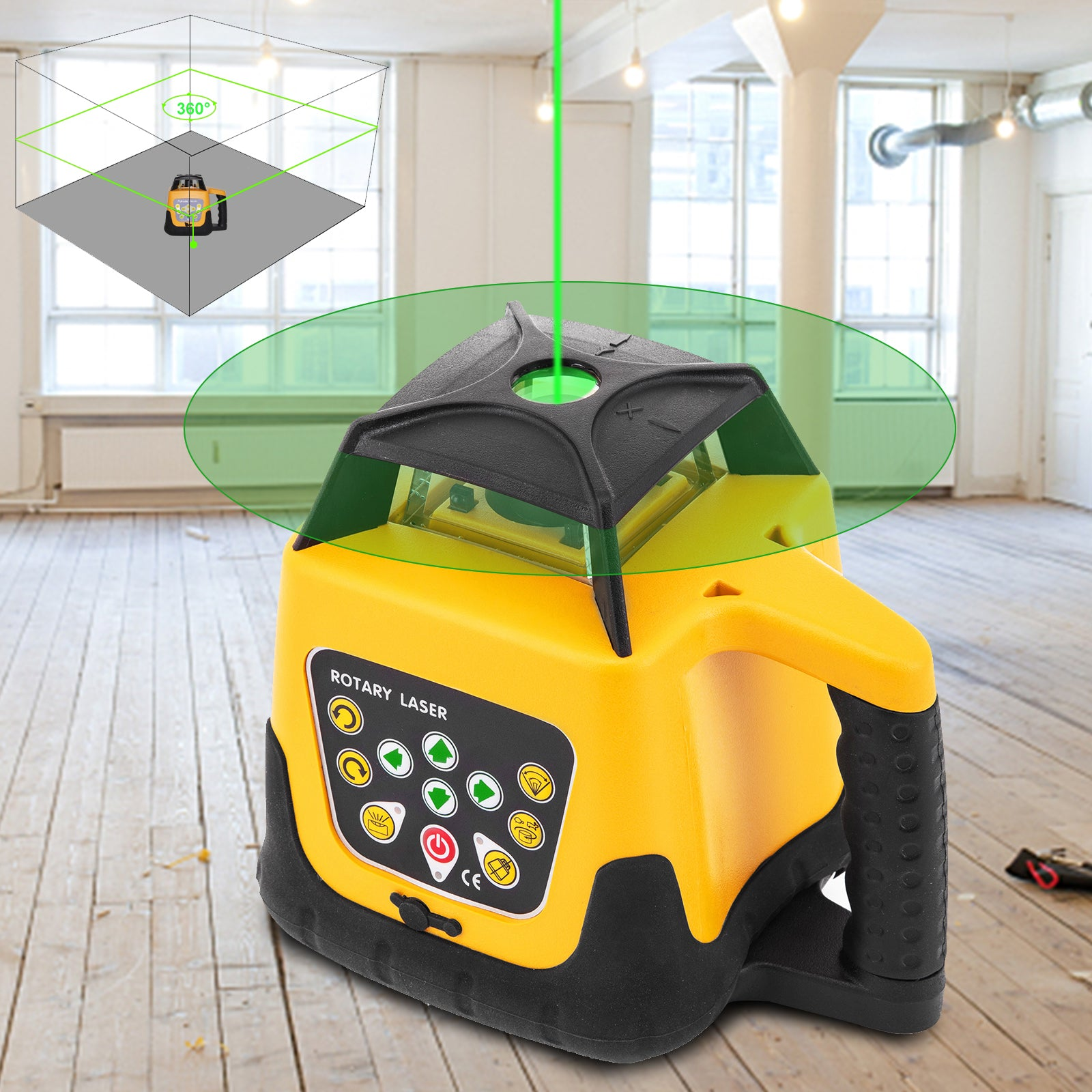 Rotary Laser Level Green Beam 500m Range Slope Adjustable 360° Spinning Accurate
