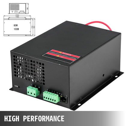 Co2 Laser Power Supply 100w For Laser Tube Engraving Cutting Machine Ac220v/110v