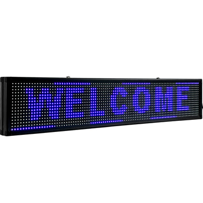 Led Sign Led Scrolling Sign 100x20 Cm Blue Message Board 2 Modes For Advertising