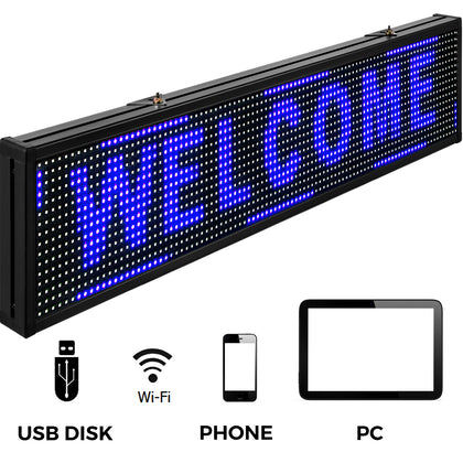 Led Sign Digital Sign 38 X 6.5 Inch Blue Led Message Board Digital Display Board