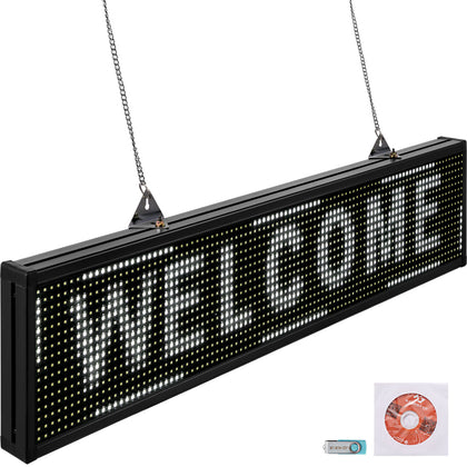 Led Sign Digital Sign 38x6.5 Inch White Led Message Board Digital Display Board