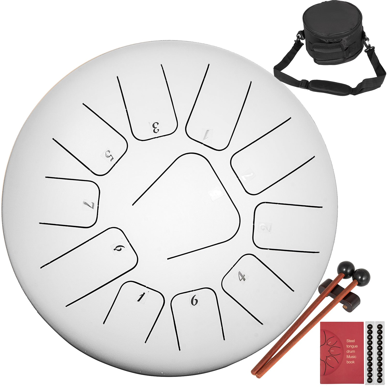 Steel Tongue Drum 11 Notes 10 Inches Percussion Instrument + Bag Book Mallets