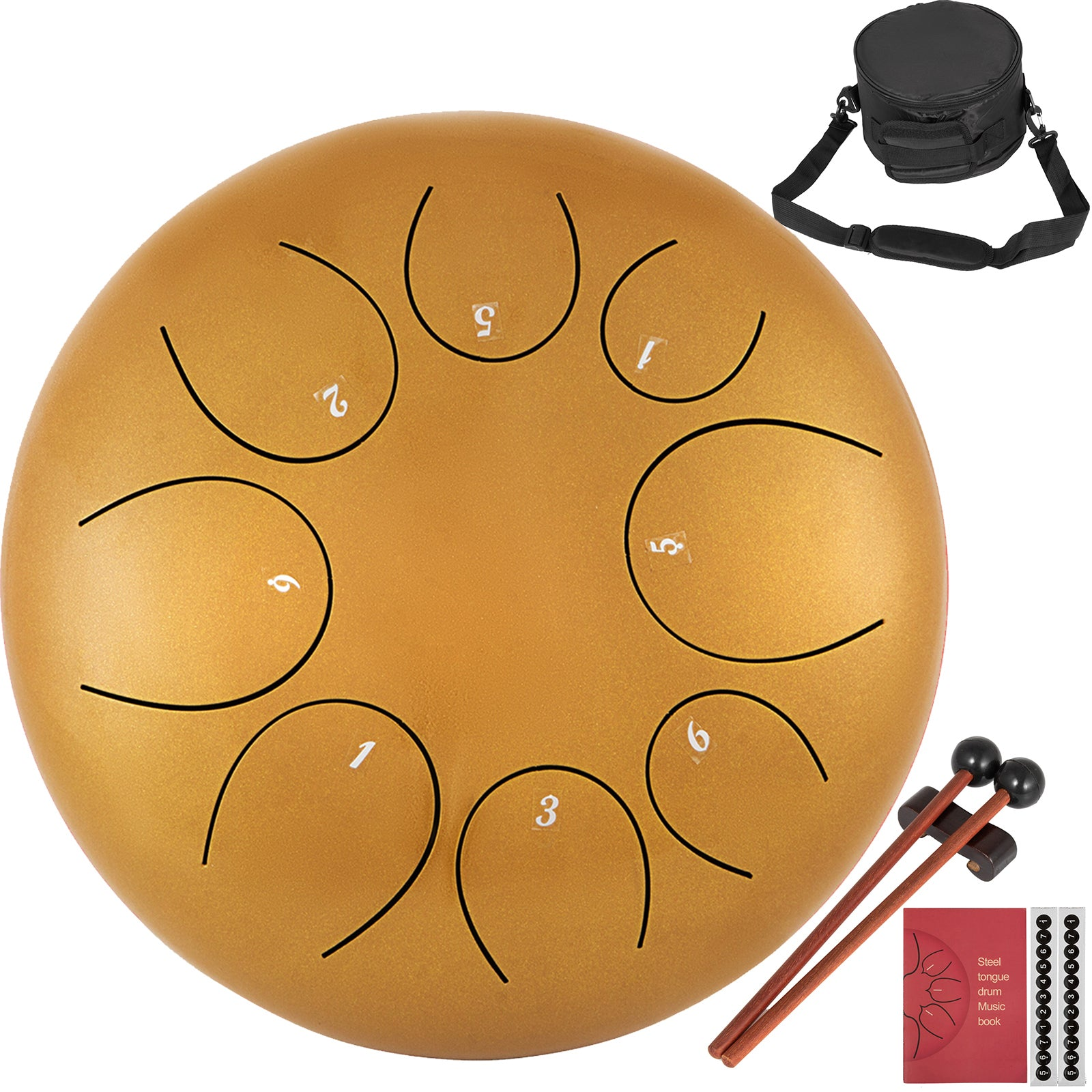 "10"" 8 Notes Steel Tongue Drum Handpan Hand Drums Percussion Instrument"