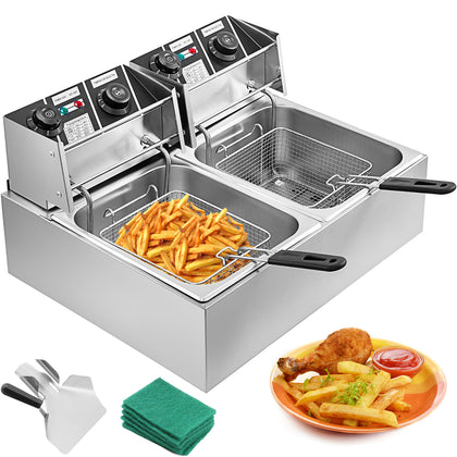 20l Deep Fryer Stainless Steel Commercial 5000w Double Tank Electric Chip Fryer