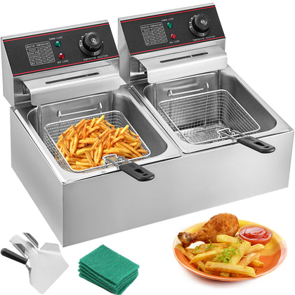 5000w 12l Electric Deep Fryer French Fry Commercial Countertop Stainless Steel