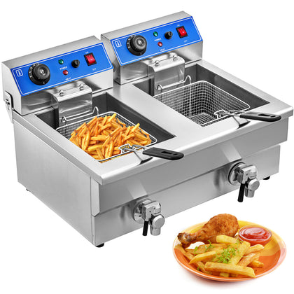 6000w 20l Electric Deep Fryer French Fry Commercial Countertop Stainless Steel