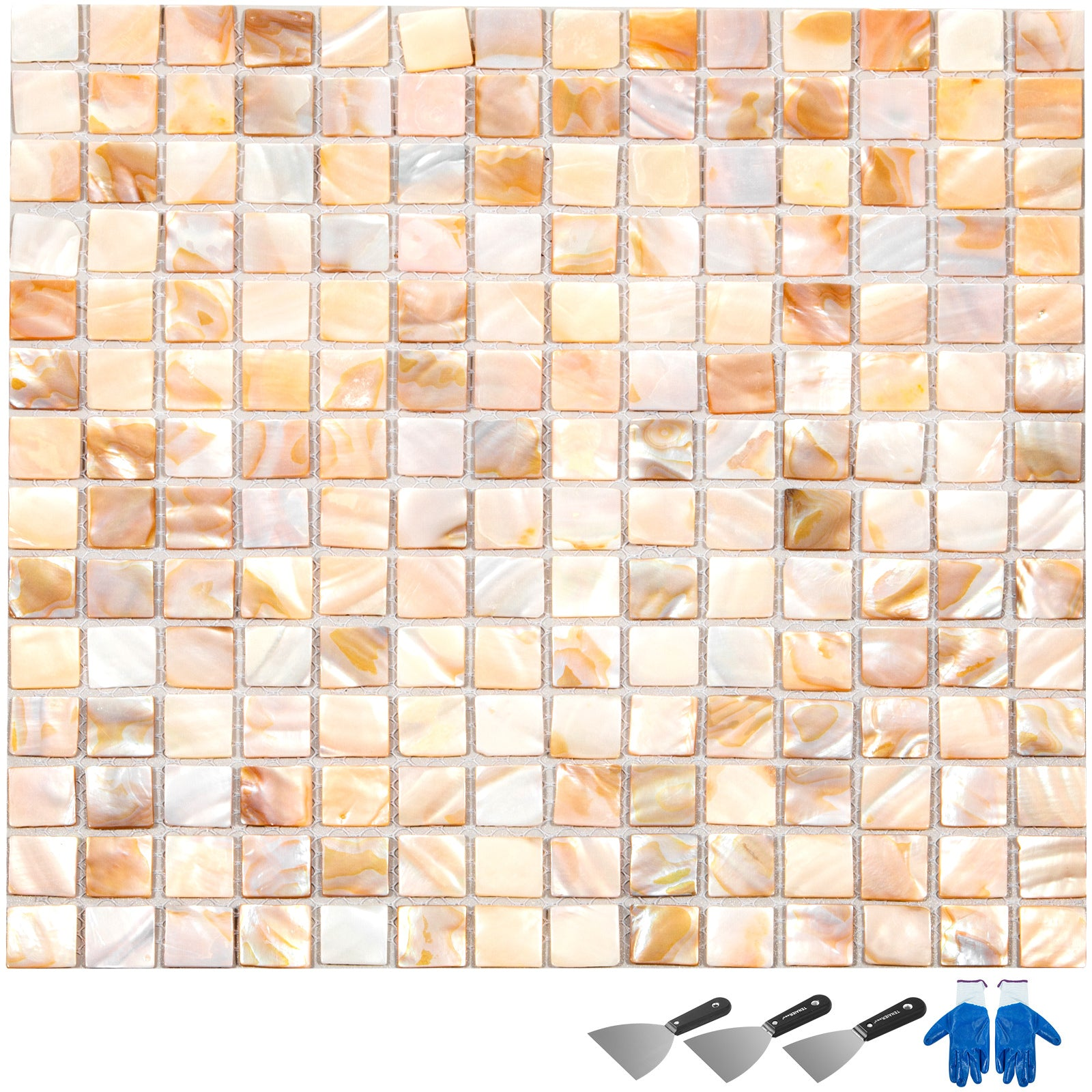 300 * 300 * 2mm Square Shell Mosaic Shower Tiles Kitchen Backsplash 12pcs