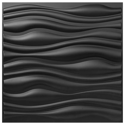 Plastic 3d Wall Panels Pvc Wave Design, Black, 19.7