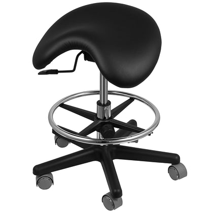 Saddle Chair Adjustable Dental Stool Black Mobile Relieve Back Pain Swivel Salon