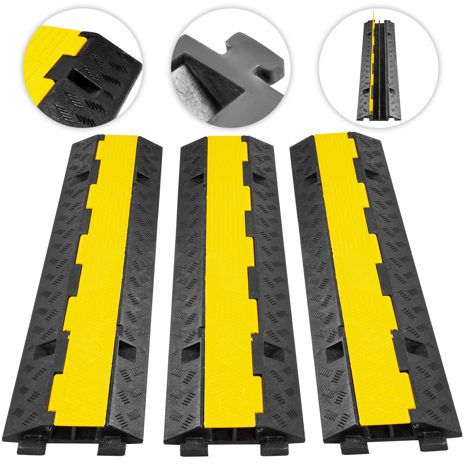 3pcs 2-cable Rubber Warehouse Vehicle Electrical Wire Cover Ramp Protector Snake