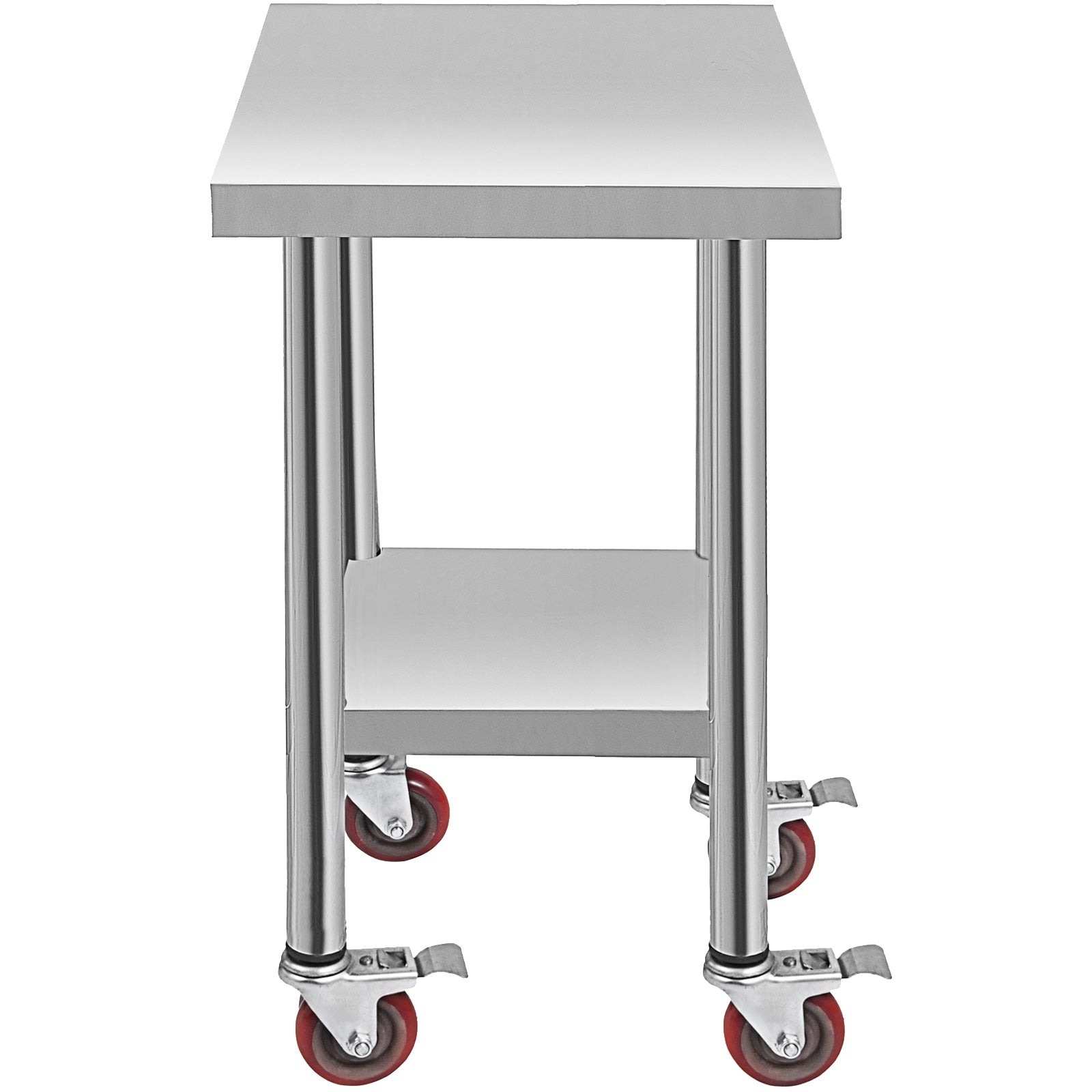762 X 457 Mm Kitchen Prep Work Table With Wheels Worktop Catering Table 2 Tier