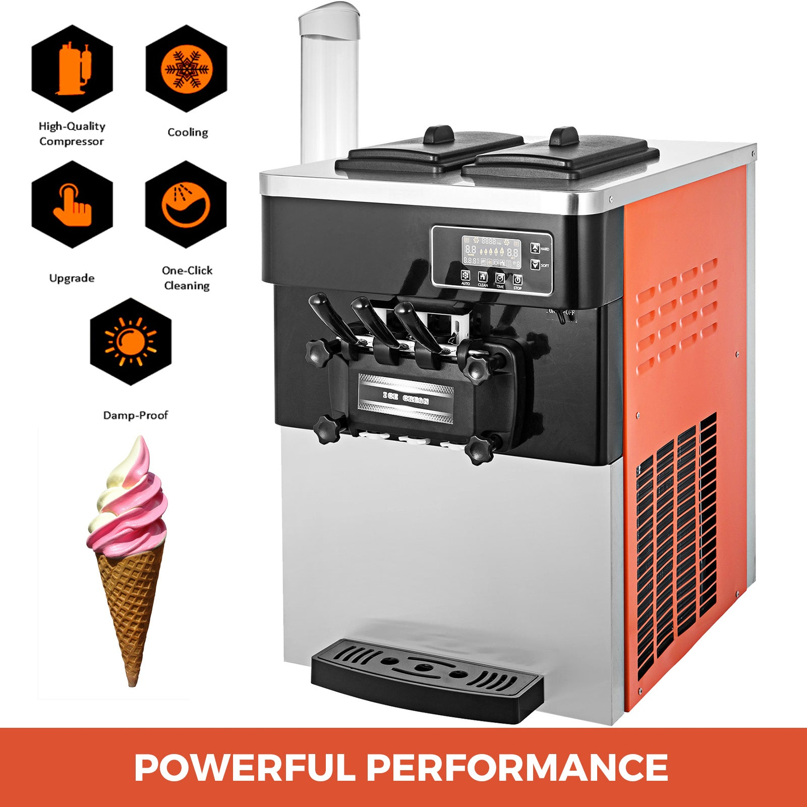 20-28l/h Commercial Soft Ice Cream Machine Detachable Tray Countertop Snack Shop