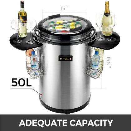 Stainless Steel Party Cooler Fridge 50l Tempered Glass Beer Wine Drinks 60 Cans