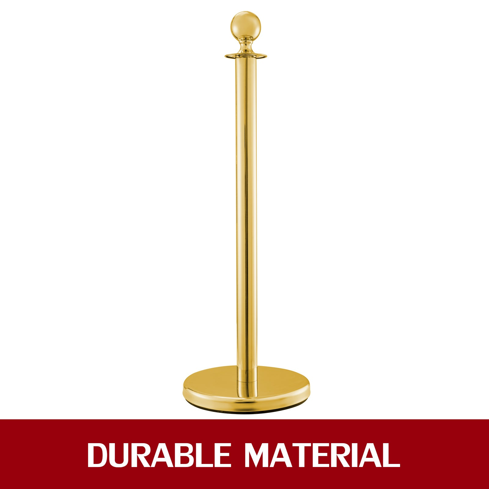 "Crowd Control Stanchion Gold 4x37.8"" Pack 3 Ropes Velvet Rope Red Ball Round Top"