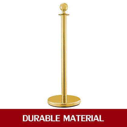 Crowd Control Stanchion 3 Gold Pillar 2 Red Ropes Steel Ceremony Velvet Rope