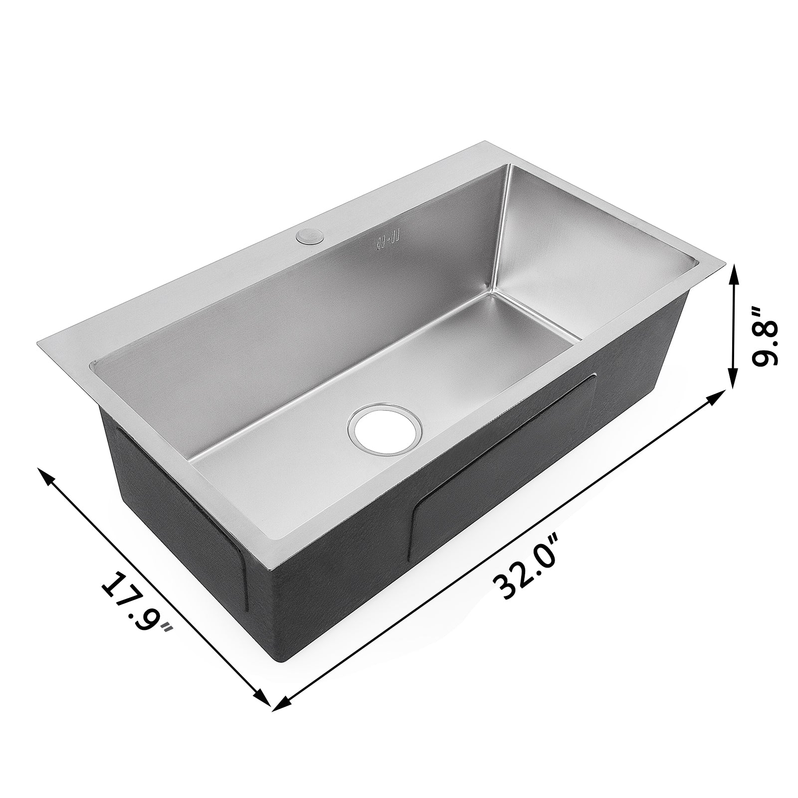 "Stainless Steel Kitchen Sink Single Bowl 32 ""x18"" Drop In Top Mount 18g Handmade"