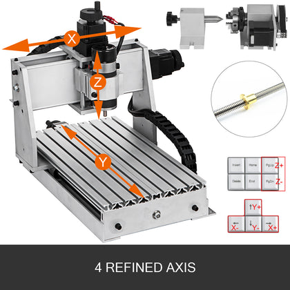 4 Axis Cnc Router 3020 Engraver Engraving Milling Drilling Machine Wood Cutting