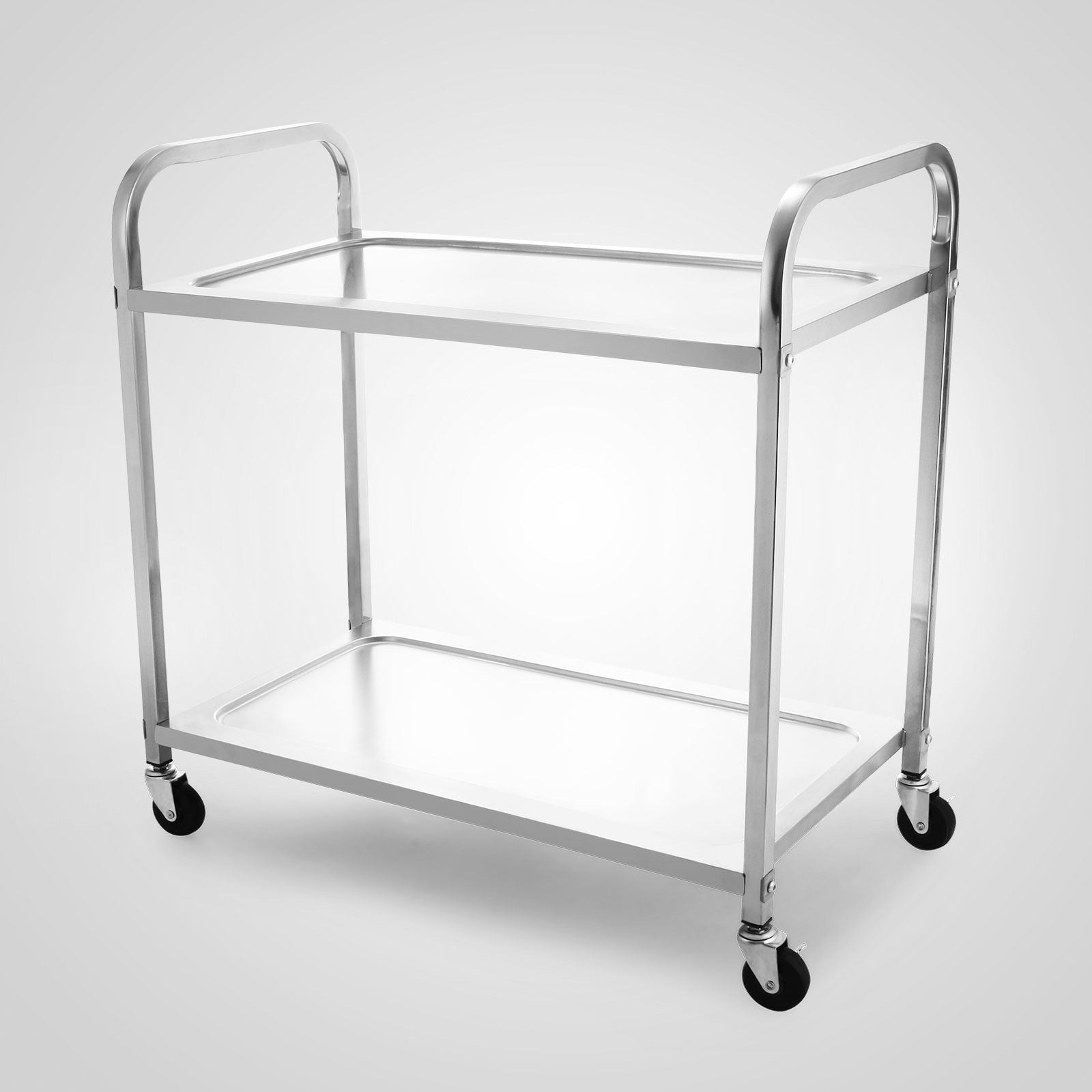 Catering Kitchen Serving Trolley Cart Stainless Steel 2 Tier Storage Shelf Dolly