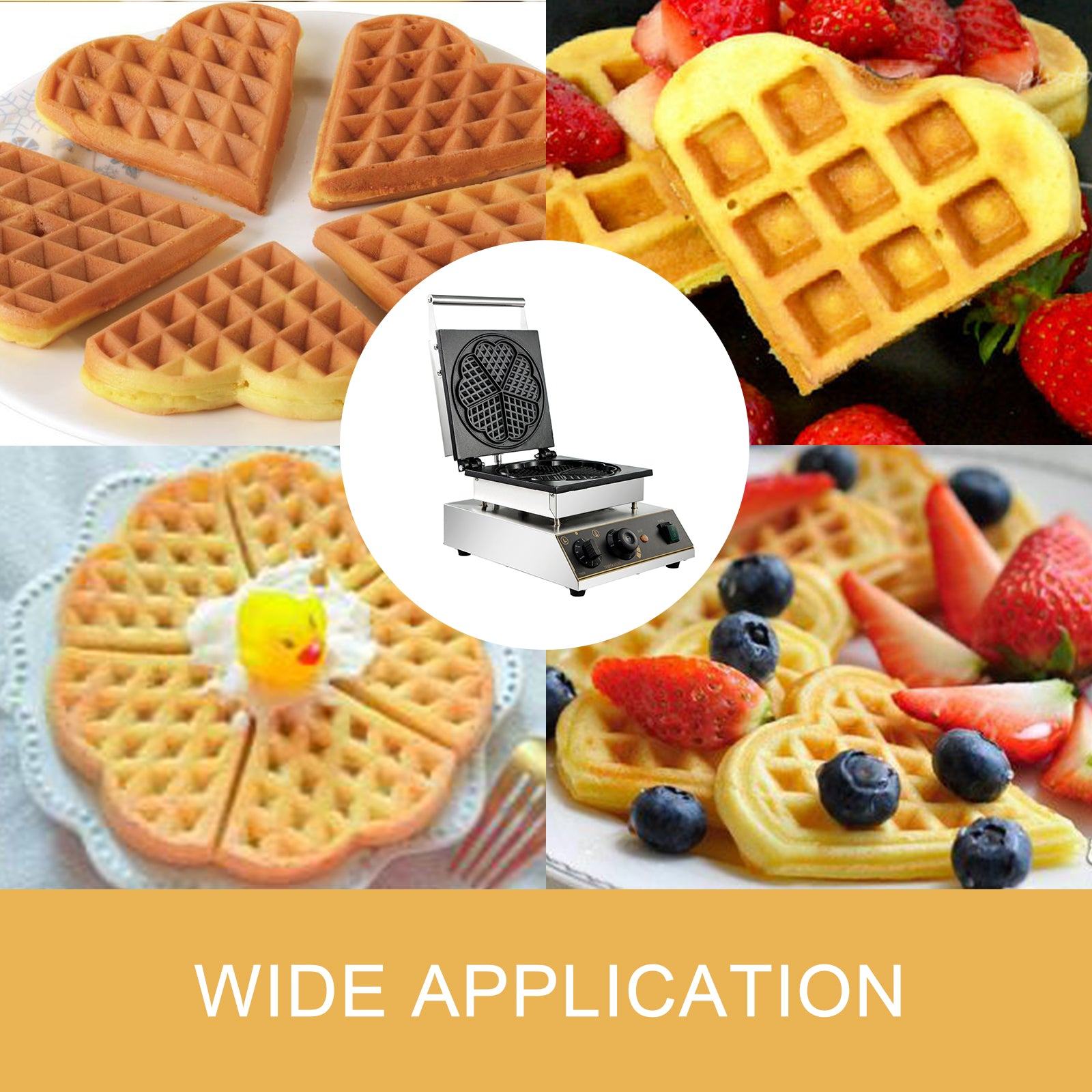 Commercial Heart Shaped Ice Cream Waffle Maker 50~300℃ 1750w Sturdy Support