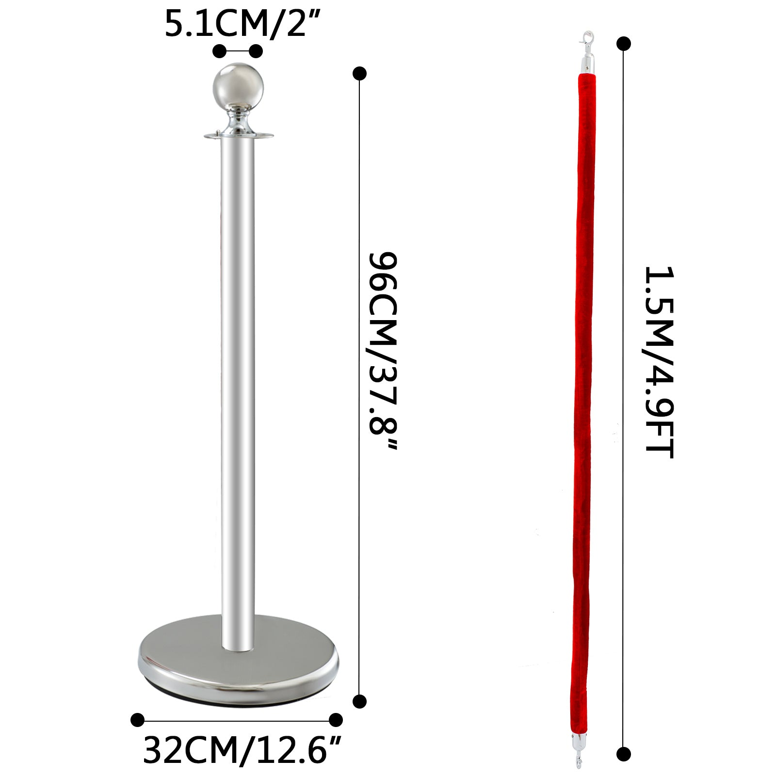 "Crowd Control Stanchion 4 X 37.8"" Pack 2 X 4.9ft Ropes Velvet Rope Durable Ball"