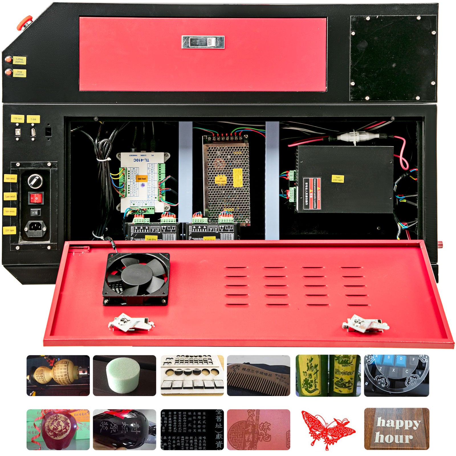 60w Co2 Laser Engraving Engraver Cutting Machine Dsp Control Usb Cutter Printer