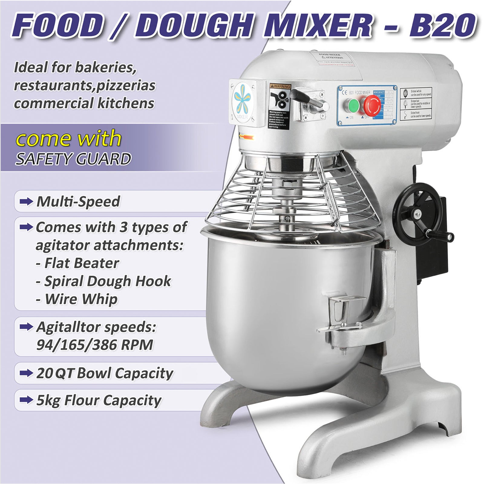 Commercial 20 Litres Food Mixer Restaurants Dough Processor Stainless Steel
