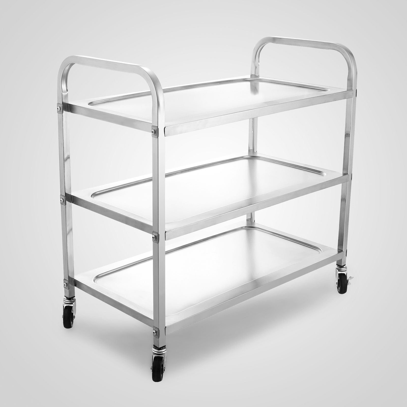 3 Shelf Stainless Steel Commercial Bus Cart Kitchen Food Serving Rolling Cart