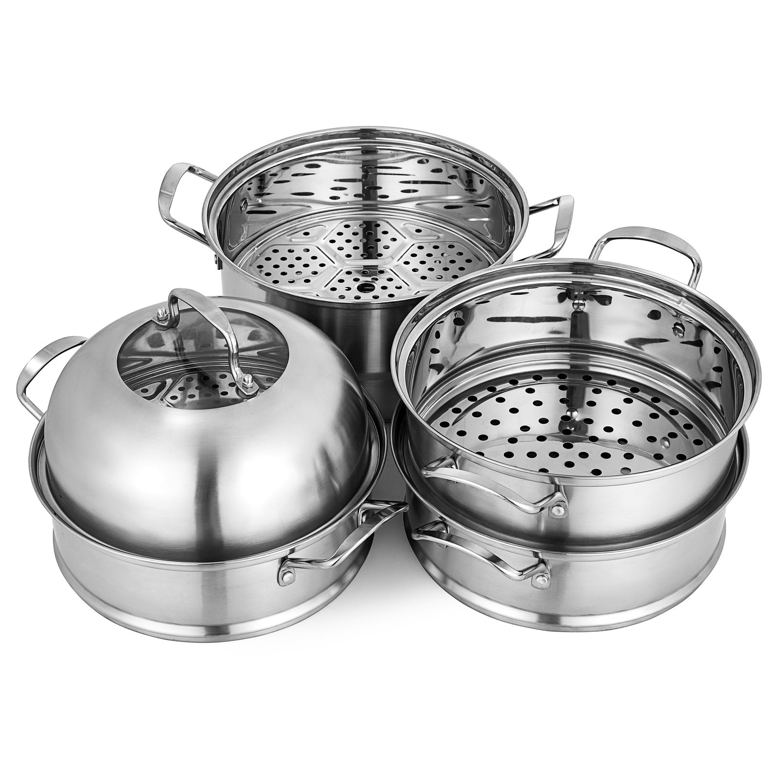 Stainless Steel Food Steamer 30cm Cooking Tool 12 Heating Steamed Dishes Soup