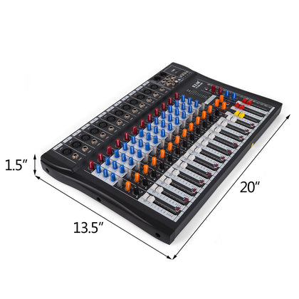 12 Channels Mic/line Audio Mixer Mixing Console Signal Mute Light Dj Effect